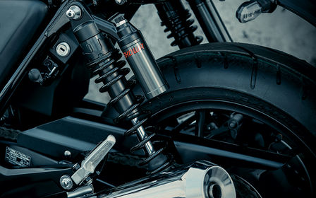 Rear close up shot of CB1100 RS suspension.