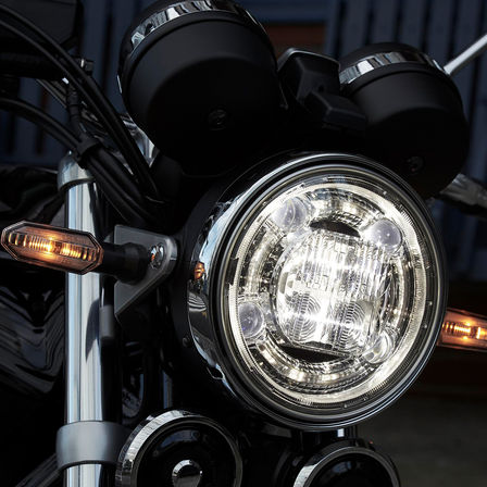 Close up of Honda CB1100 RS headlights.