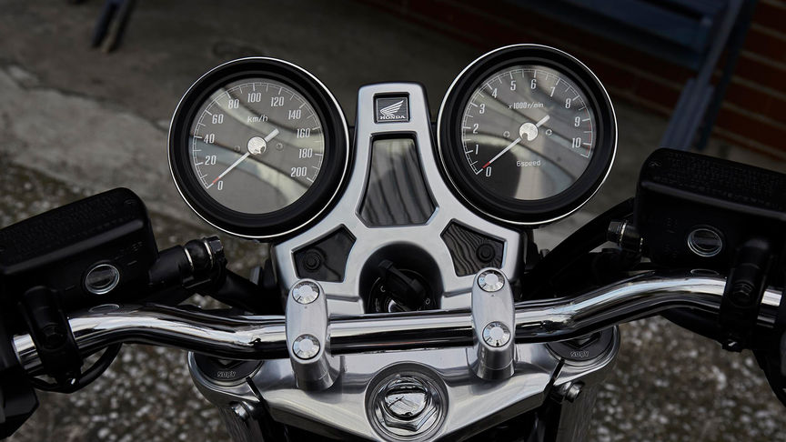 Close up of Honda CB1100 RS dials.