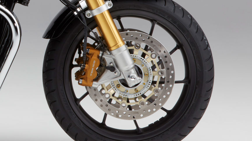 Close up of Honda CB1100 RS wheels.