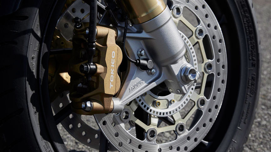 Close up of Honda CB1100 RS front brake.