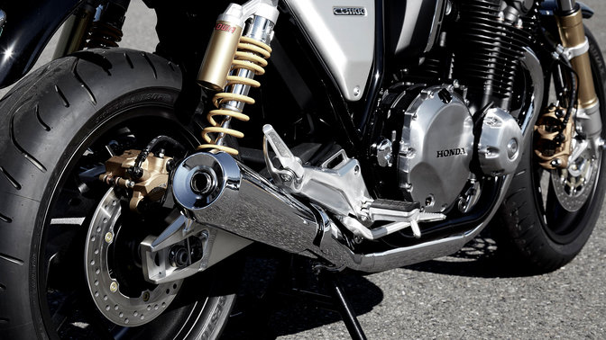 Close up of Honda CB1100 RS exhaust.