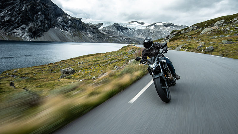 CB500F, front, rolling with rider on a mountain road