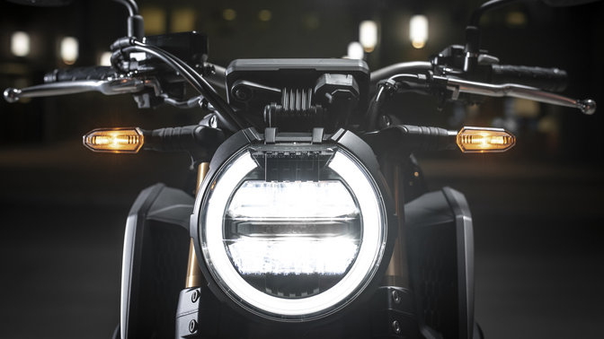 Honda CB650R close up on headlight.