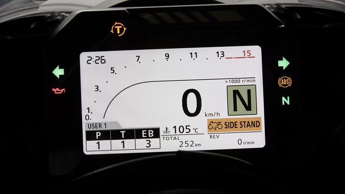 Close up of the Honda CBR1000RR Fireblade digital TFT screen.