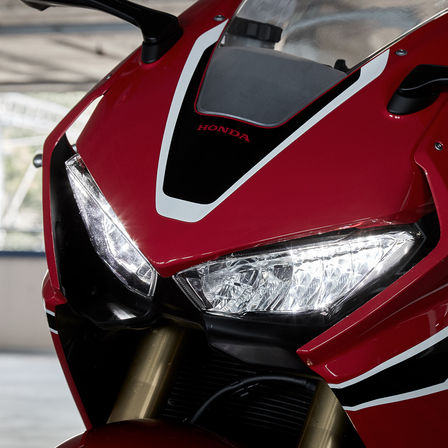 Close up shot of Honda CBR1000RR shot of headlights.