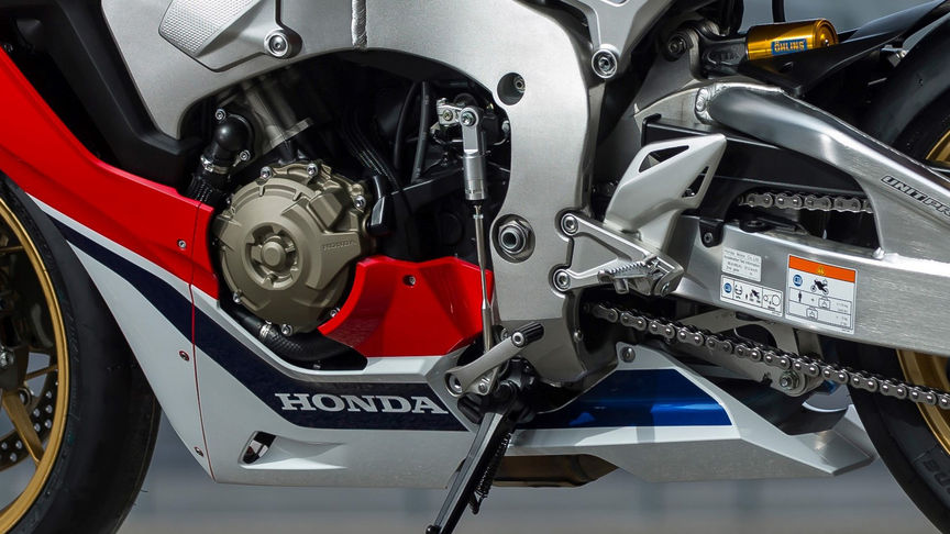 Close up shot of Honda Fireblade gear shifter.