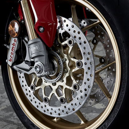 Close up shot of Honda Fireblade wheel.