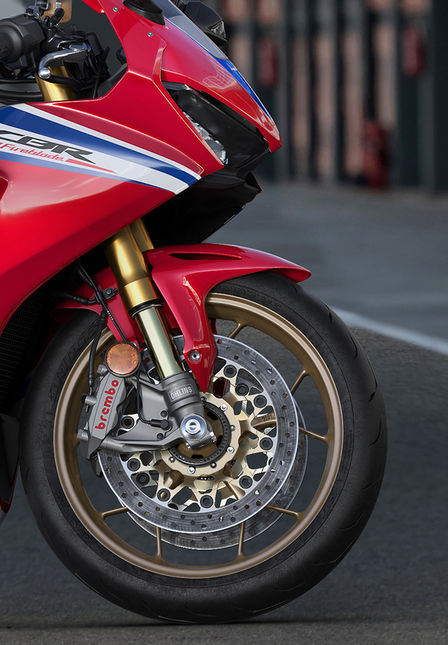 Close up of Honda Fireblade SP wheel.