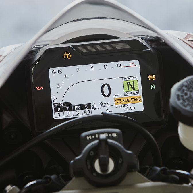 Close up of Honda Fireblade SP dashboard