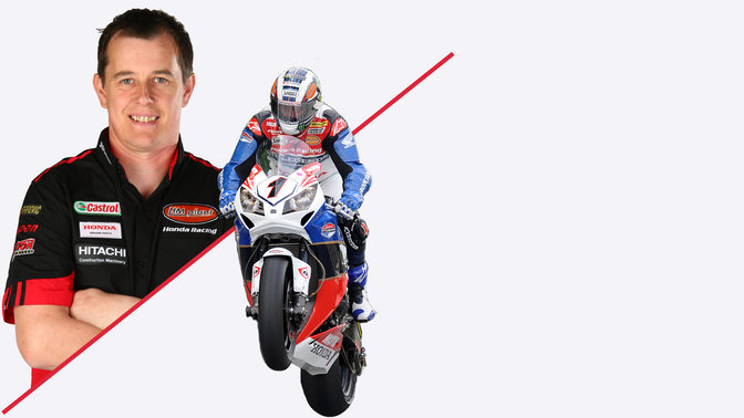 Split image: Portrait of John McGuiness, 3-quarter frontal shot of McGuiness riding Fireblade, pulling a wheelie!