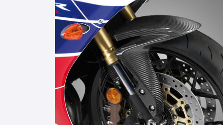 Close-up of front wheel of CBR600RR.