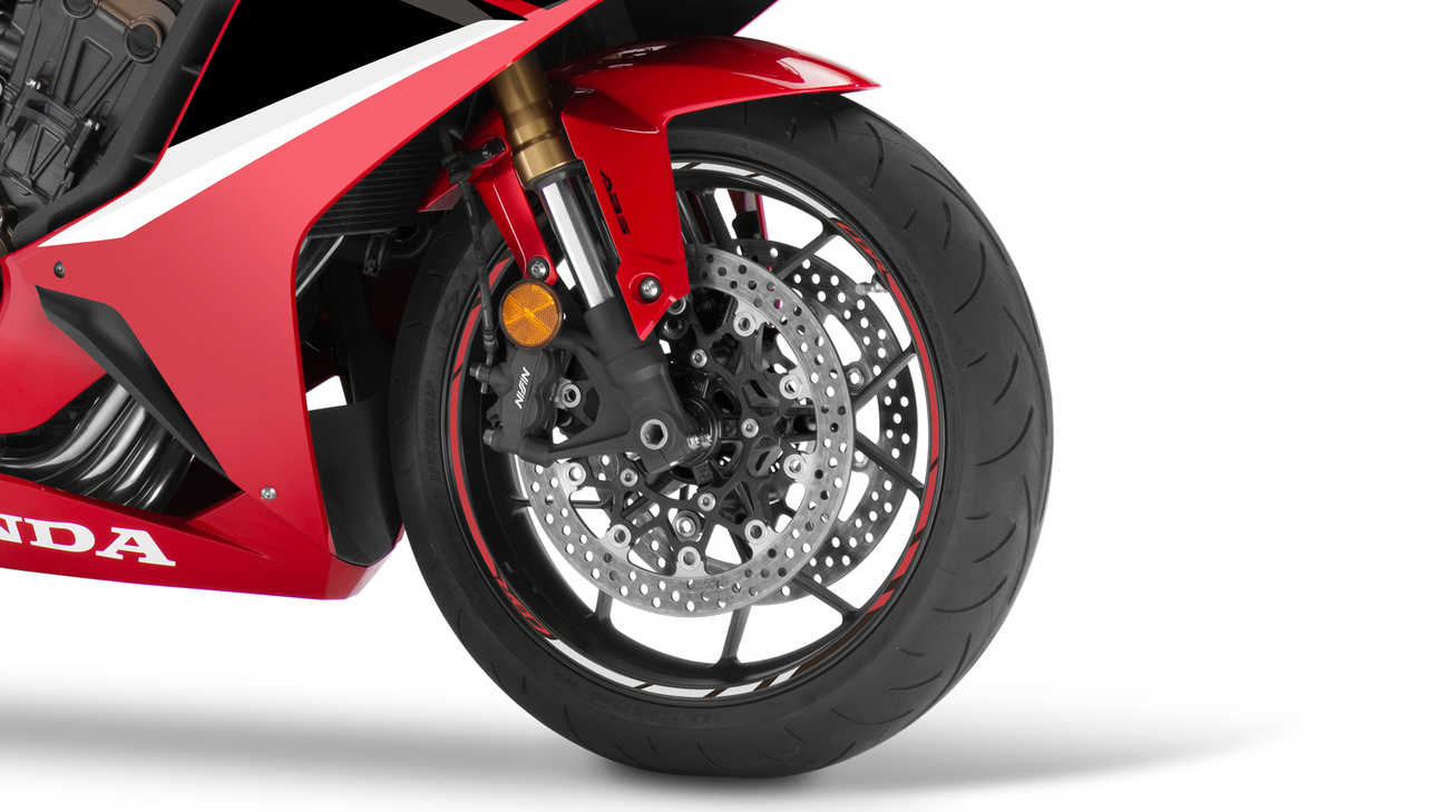 CBR650R, studio shot, focus on radial mount brake calipers