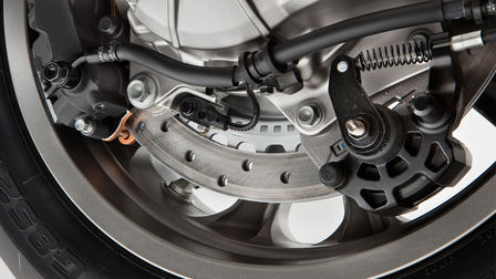 Close up of Honda Gold Wing Dual-Combined Braking System.