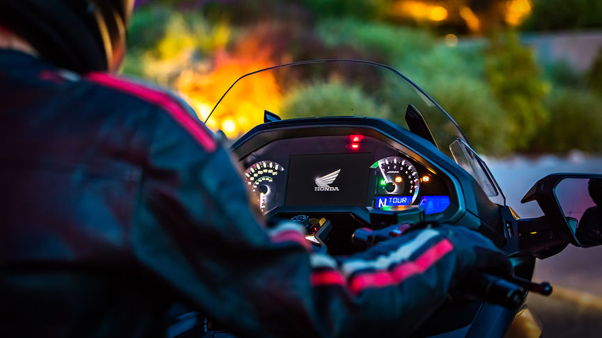 Close up of the Honda Gold Wing dashboard.