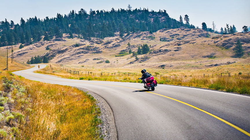 Rear facing Honda Gold Wing on country road.