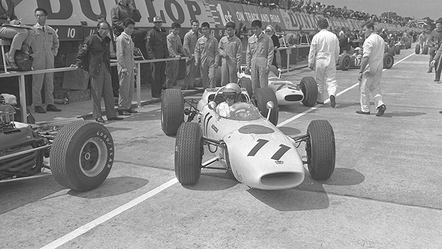black and white shot of early F1 car