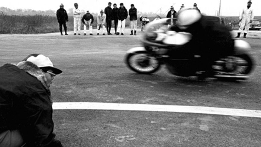 black and white racing shot