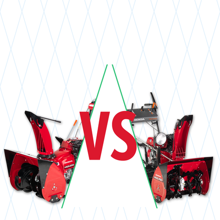 2x Honda snowthrowers with compare illustration.