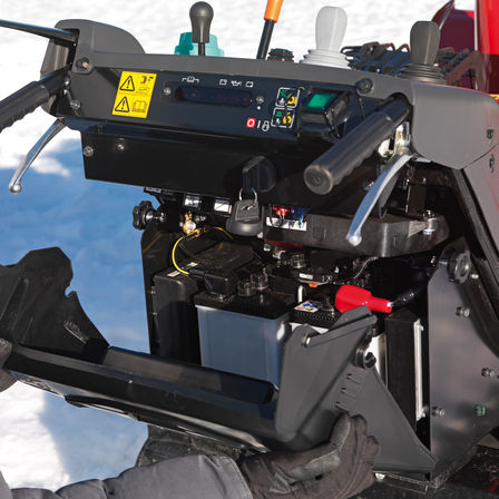 Close up of snowthrower.