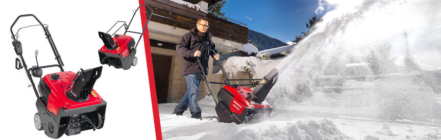 Left: 2x Single stage snowthowers. Right: Single stage snowthrower, being used by model, garden location.