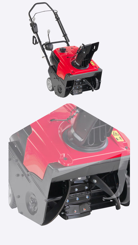 Single-stage snowthrower, with close up of rubber auger.