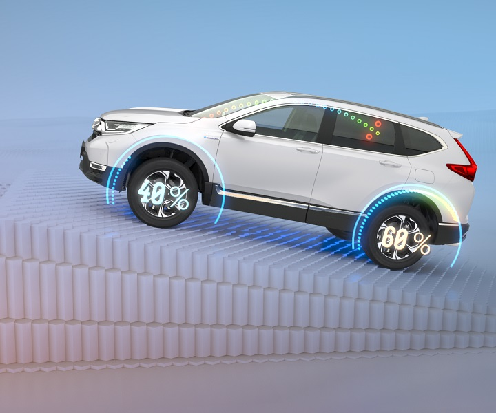 CR-V Hybrid driving uphill showing power distribution