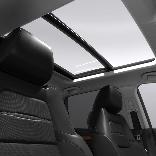 Interior shot of the CR-V Hybrid showing the power glass roof