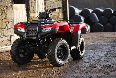 Red Honda TRX420 Fourtrax Quad Bike Front View