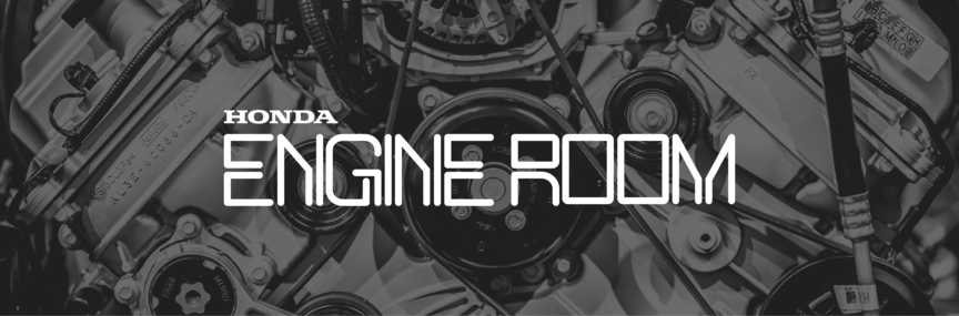 Banner promoting section called The Engine Room which contains news and articles from Honda