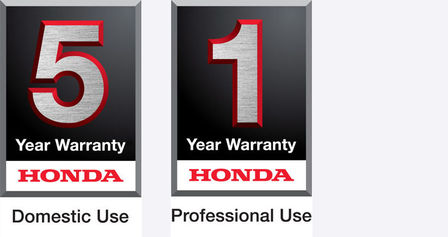 5 year domestic use warranty logo and 1 year professional use warranty logo.