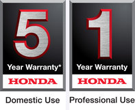 Honda 5 year domestic use warranty logo, and Honda 1 year professional use warranty logo.