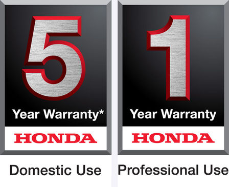 Honda 5 year domestic use warranty logo, and 1 year professional use warranty logo.