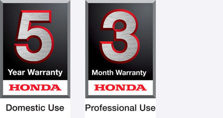 5 year domestic use warranty logo and 3 year professional use warranty logo.
