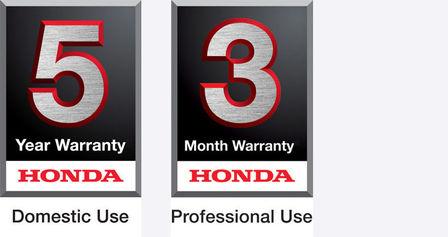 5 year domestic use warranty logo and 3 year professional use warranty logo.