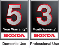 A 5 year domestic use warranty logo, and a 3 year professional use warranty logo.