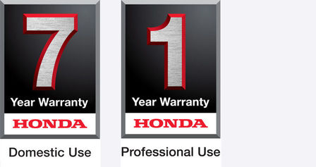 7 year domestic use warranty logo and 1 year professional use warranty logo.