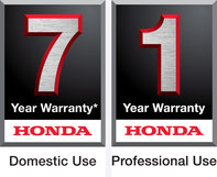 Honda 7 year domestic use warranty logo, and Honda 1 year professional use warranty logo.