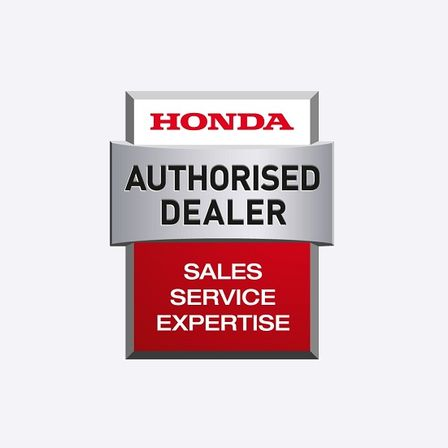 Honda authorised dealer logo, stating sales, service, expertise.