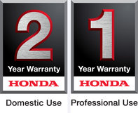 Honda 2 year domestic warranty logo and 1 year professional warranty logo.