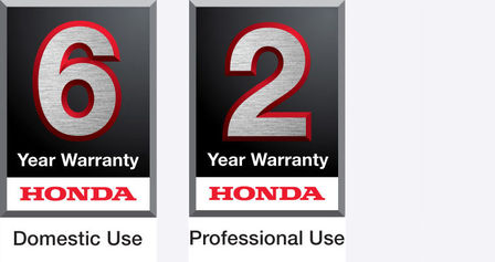 6 year domestic use warranty logo and 2 year professional use warranty logo.