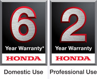 A Honda 6 year domestic use warranty logo, and a Honda 2 year professional use warranty logo.