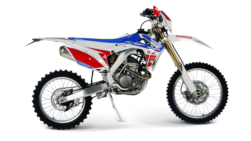 Side on, right-facing tricolour CRF450RE.