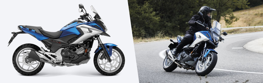 Side shot of stationary NC750X and side shot of NC750X being ridden