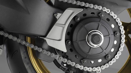 Close up of Honda motorcycle chain.