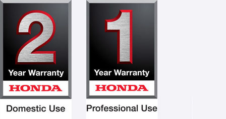 Honda 2 year domestic use warranty logo and 1 year professional use warranty logo.